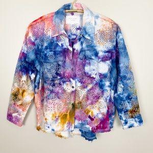 Jackets & Blazers - Tie Dye Denim Eyelet Jacket M Abstract Trendy Cool
